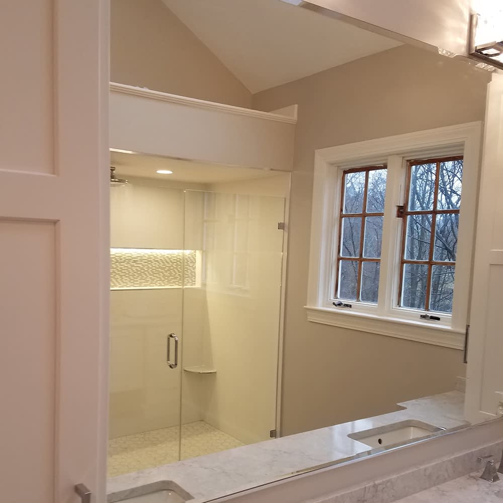 shower glass doors and mirrors